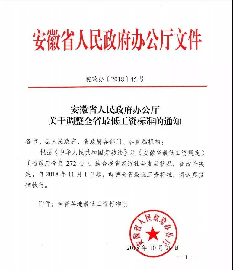 2018年11月,安徽省调整了最低工资标准,快看看桐城是多少