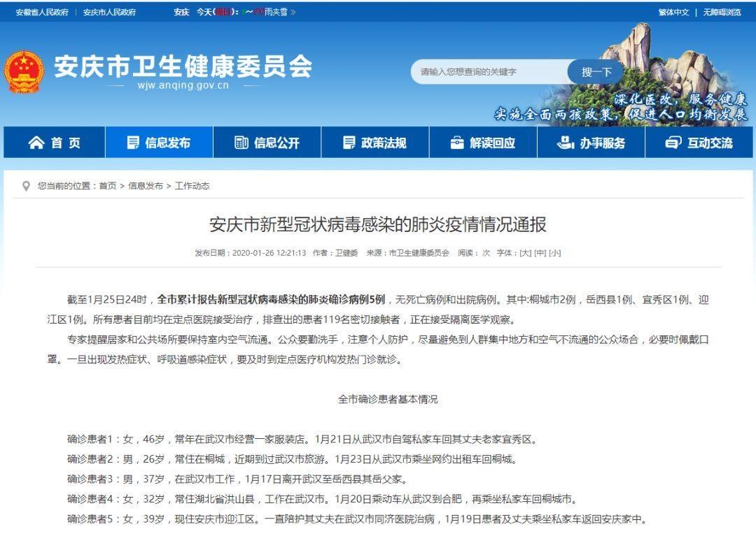 1月27日安庆市新型冠状病毒感染的肺炎疫情情况通报